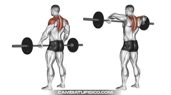 Press de hombro con barra agarre abierto