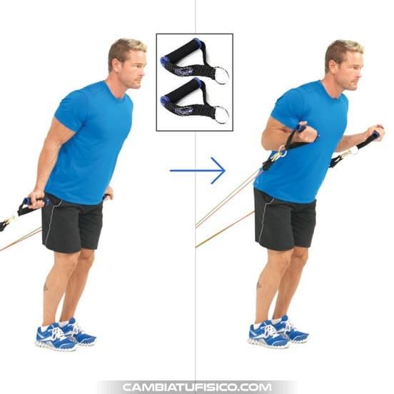 Curl de biceps con bandas elasticas