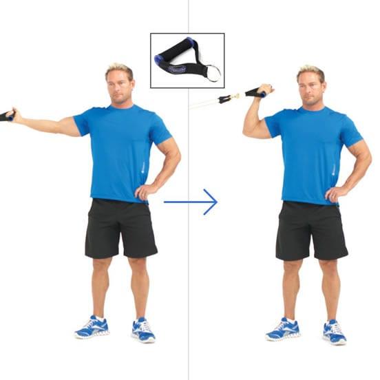 Curl de biceps en banda elastica alta
