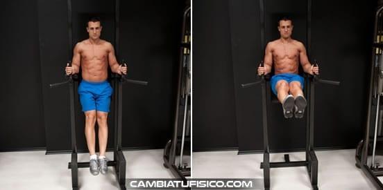 Elevaciones de piernas en paralelas
