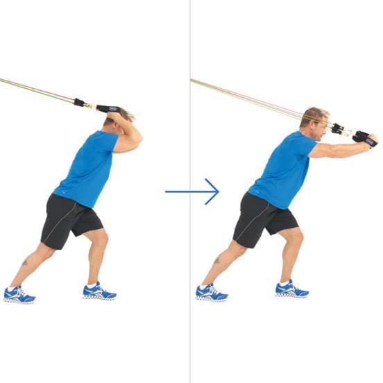 Extensiones de triceps sobre la cabeza con bandas elasticas