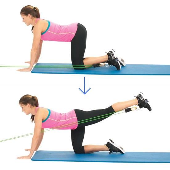 extension de cadera con bandas elasticas