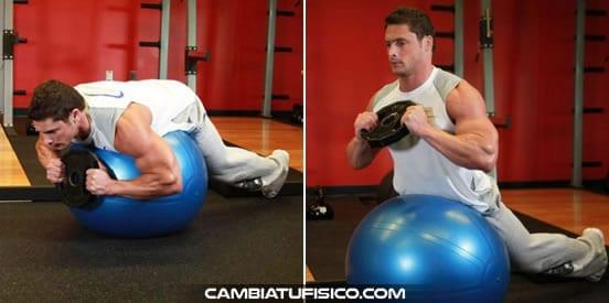 Hiperextensiones en balón de ejercicio
