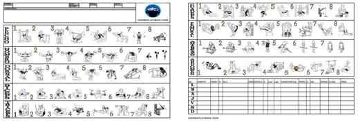 tabla ejercicios musculacion gimnasio